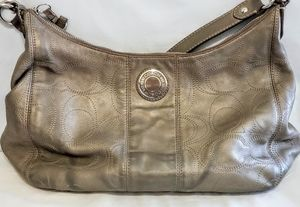 Coach Signature Hobo Leather Metallic Grey/Gold